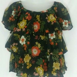 Japna Women's Short Sleeve Floral Top Blouse
